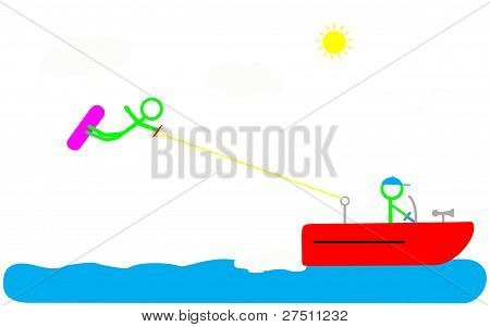 Boat and Wakeboarder