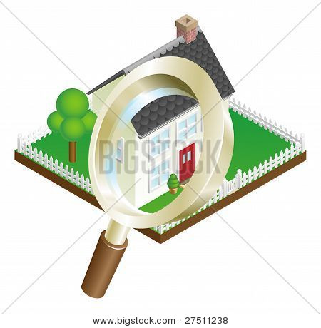 Magnifying Glass House Search Concept