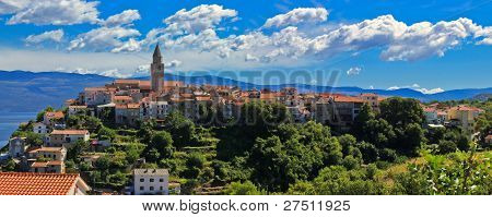 Adriatic Town Of Vrbnik Panoramic View