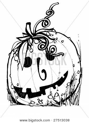 Halloween pumpkin with evil scary smile