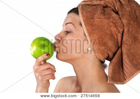 Beautiful Young Woman With An Apple.