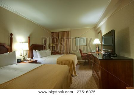 Room With King-size Bed Chair  Lamps And Desktop
