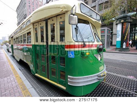 San Francisco, Ca, Oct 4, 2011 - Vintage Pcc Streetcar In Service On The F Market Heritage Line Help