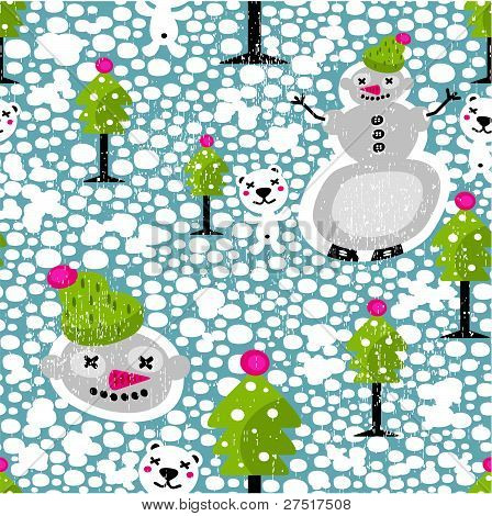 Christmas seamless pattern with snowman.