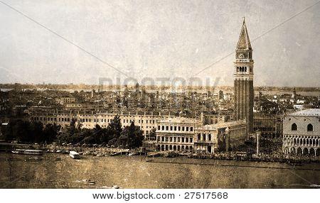 San-Marco square. Retro postcard