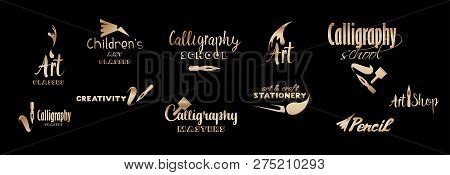 Art Classes Golden Lettering Logo