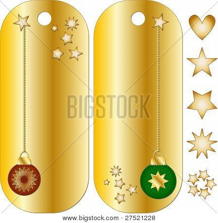 Christmas tags with baubles and stars