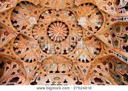 Beautiful decorated Dome of  Ali Qapu Palace, Esfahan, Isfahan, Iran