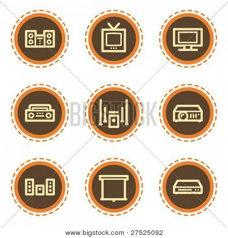Audio video  web icons, vintage  buttons