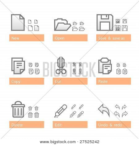 Universal software icon set. Standart part