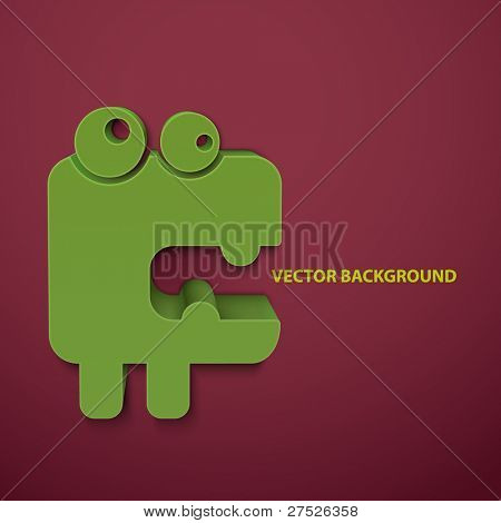 Abstract vector background with cartoon monster.