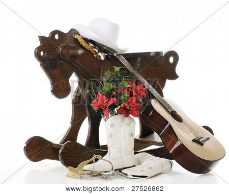 The gifts a little cowgirl dreams of.  On a white background.