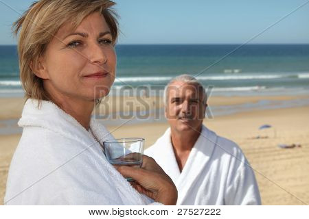 mature couple in thalassotherapy resort