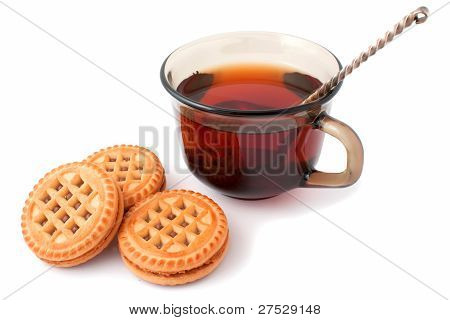 Cup Of Black Tea And Biscuits