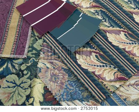Burgundy And Teal Print Interior Decoration Plan
