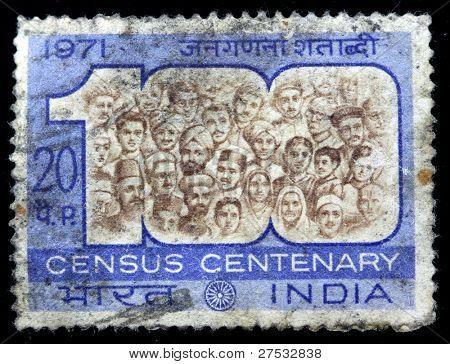 INDIA - CIRCA 1971: A stamp printed in India (present time India) shows Census Centenary,  circa 1971