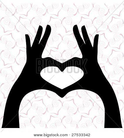 heart hands silhouette (heart pattern behind)