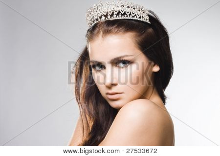 beautiful princess with diamond crown