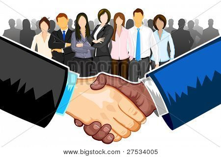 illustration of black and white male handshaking with each other on white background