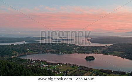 Aerial View Of Lake Campbell At Sunset