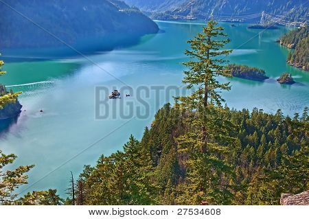 Landscape Of Mountain Lake - Ross Lake, Washington State