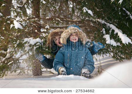 children in the winter