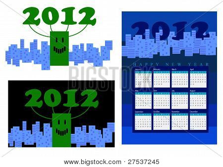 2012, happy new year, a smiling building among blue city.