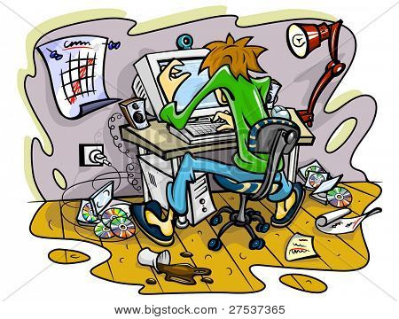 hacker working on computer in jumble room vector illustration
