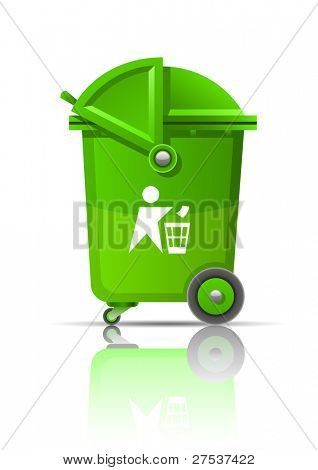 green garbage can vector illustration isolated on white background