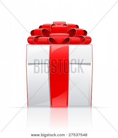 gift box with red bow vector illustration isolated on white background
