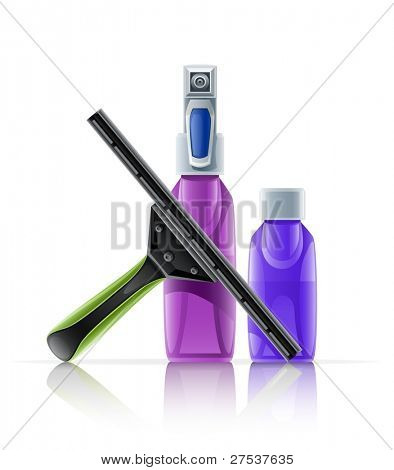 cleaning tool squeegee spray bottle vector illustration isolated on white background