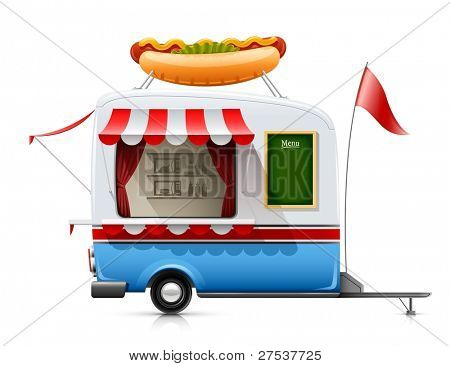 trailer fast food hot dog vector illustration isolated on white background