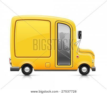 Ilustración de vector de coche amarillo entrega aislado sobre fondo blanco