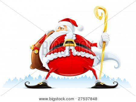 Santa Claus with sack and staff vector illustration isolated on white background