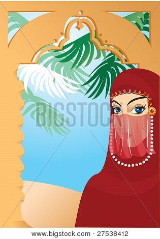 Beautiful arabian woman wearing yashmak. Portrait border.