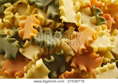 background of pasta in three variations