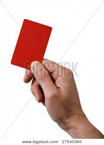 referee's hand holding red penalty card isolated on white
