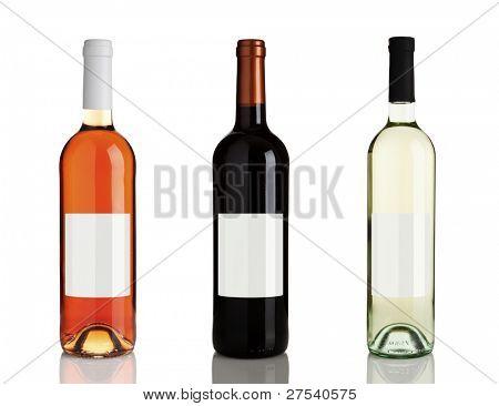 rose wine, red wine, white wine bottles isolated on white background