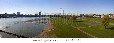 panoramic image of Dusseldorf from Altstadt to Oberkassel with Rhine Tower, MediaHarbor and Rheinknie bridge