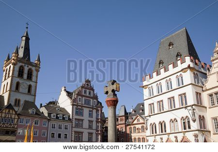 houses at the Hauptmarkt of Trier, Germany's oldest town