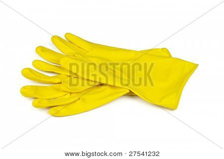 pair of yellow rubber gloves isolated on white background
