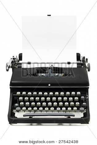 gritty typewriter from the 1960's with blank sheet of paper, isolated on white background