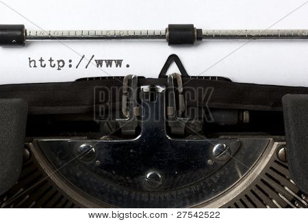 beginning of URL written on old typewriter