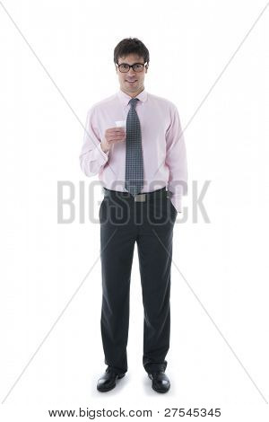 Businessman having coffee break