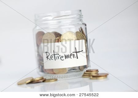 Jar of coins with
