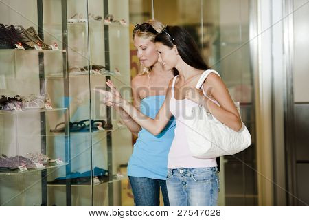 Young women looking through shop window