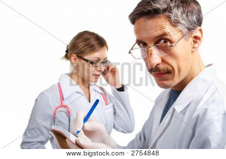 Doctor'S Teamwork. Isolated.