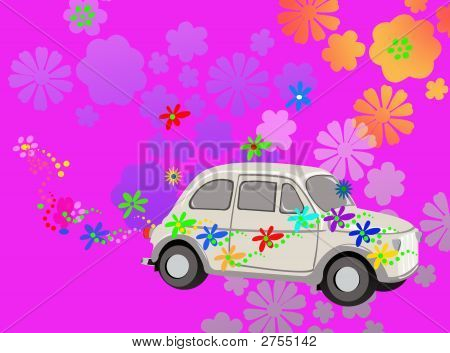 Flower Power Hippie Car Fantasy