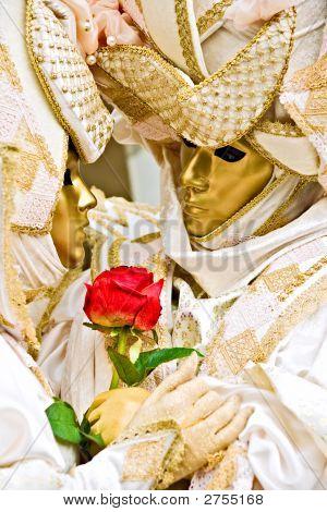 Golden Masks With Red Rose