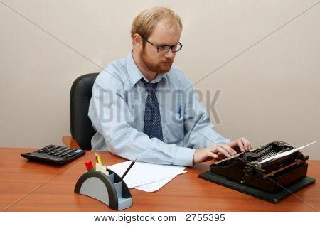 Man Typing On Antique Typewriter!